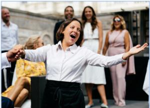 Singing waitress hire